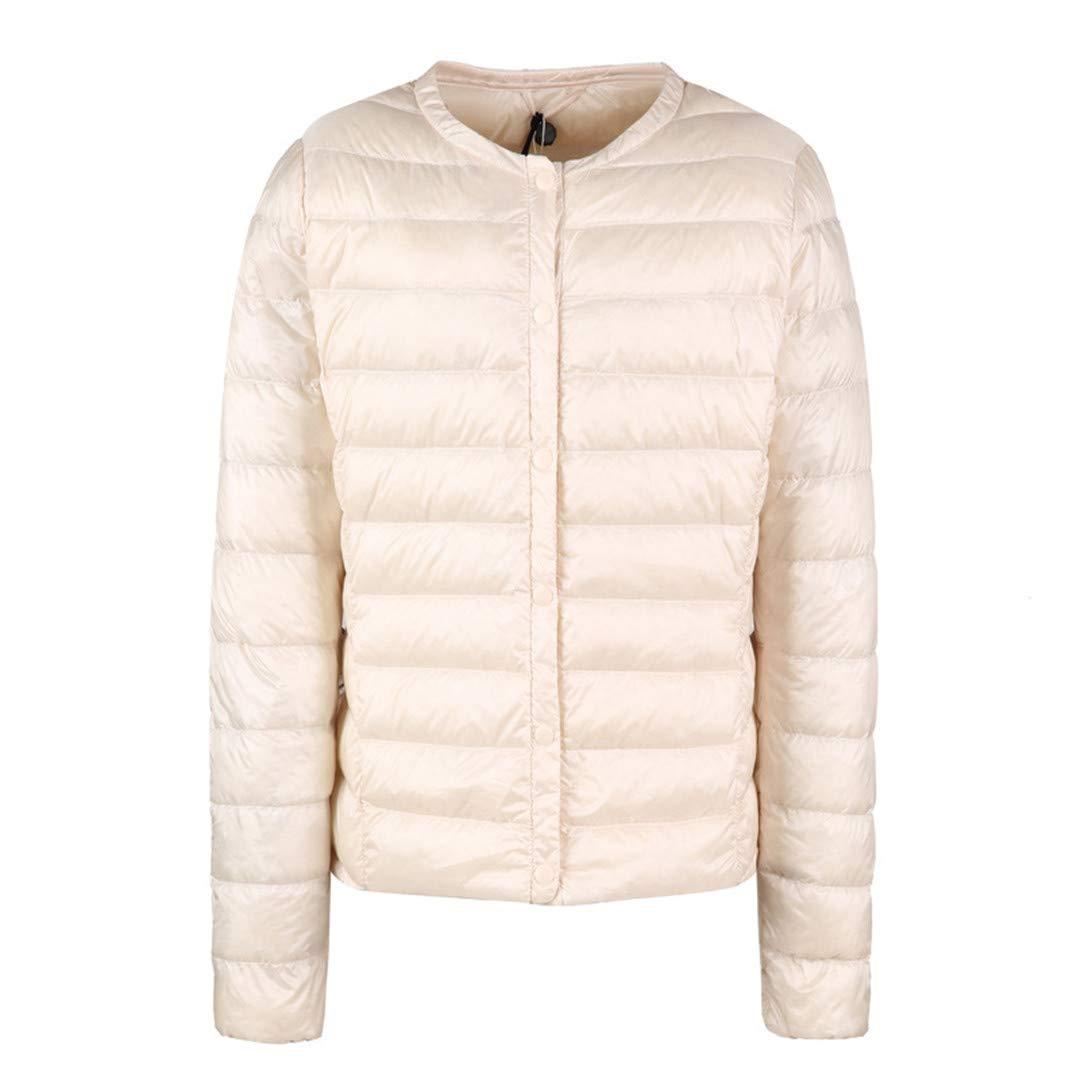 Beige BiBOONES Spring and Autumn White Duck Down Women's Collarless Ultralight Down Jacket