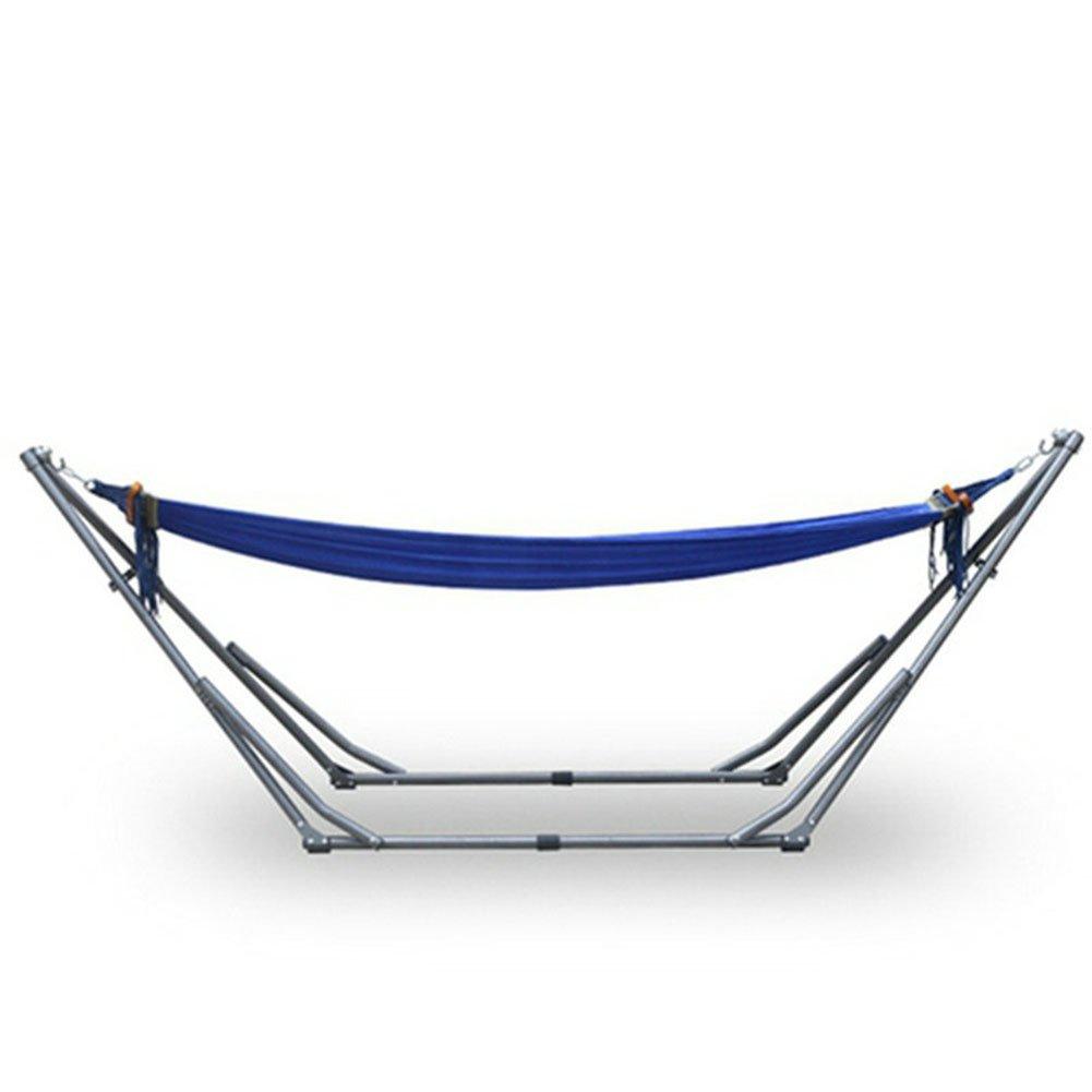 OOBY Stoff Hängematte mit Ständer, Blau Hängematte mit Klapp-Stahl Stand-Outdoor Tragbar Reise-Schaukel Stuhl Bett-Blau und Grün
