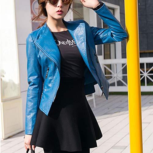 In Cappotti Slim Fit Cappotto Biker Pelle Blu Cerniera Capispalla Con Giacca Sintetica Bomber Donna qdHCqpw