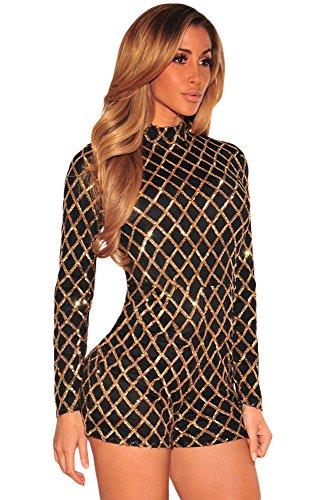 NEW Femme Noir et Or à paillettes Combinaison Grenouillère Pyjama Combinaison Club Wear Taille M UK 10–12–EU 38–40