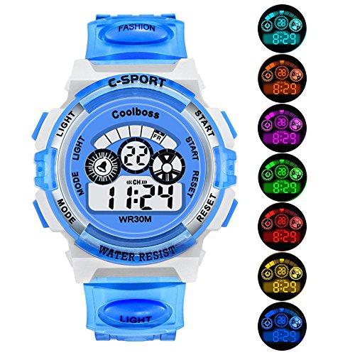 EOBP Kid Watch for Child Boy Girl LED Multi Function 30M Waterproof Sport Outdoor Digital Waterproof Alarm Children's Watch