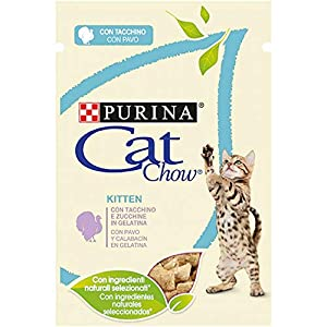 Purina Cat Chow Comida para Gato Junior, Gatito con Pavo 24 x 85 g – 1 Pack