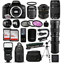 "Canon EOS Rebel T6i DSLR Digital Camera + 18-55mm IS STM + 6.5mm Fisheye + 75-300mm III + 420-1600mm Lens + Filters + 128GB Memory + i-TTL Autofocus Flash + Backpack + Case + 70"" Tripod + 67"" Monopod"