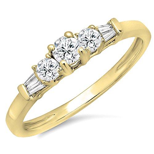 6 Diamond Baguette Stone Ring - Dazzlingrock Collection 0.45 Carat (ctw) 14K Yellow Gold Round & Baguette Cut Diamond 3 Stone Engagement Bridal Ring (Size 6)