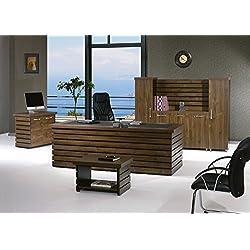 "Modern Elise 4 Piece Desk Office Suite Furniture Set 79"" Rustic Brown & Black"