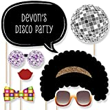 Big Dot of Happiness Custom Retro 70's Photo Booth Props - Personalized 1970s Disco Fever Party Supplies - Seventies Disco Party Accessories - 20 Selfie Props