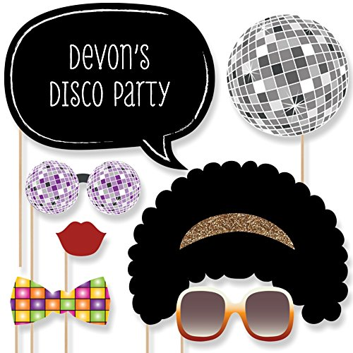Custom Retro 70's Photo Booth Props - Personalized 1970s Disco Fever Party Supplies - Seventies Disco Party Accessories - 20 Selfie Props by Big Dot of Happiness