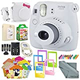 Fujifilm Instax mini 9 Instant Film Camera (Smokey White) & Deluxe Accessory Kit w/Selfie Lens + Mini Album & Case + Films + Assorted Frames + More