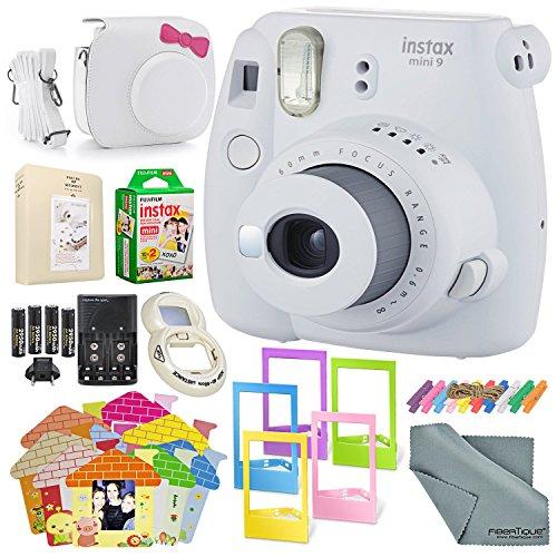 Fujifilm Instax mini 9 Instant Film Camera (Smokey White) & Deluxe Accessory Kit w/Selfie Lens + Mini Album & Case + Films + Assorted Frames + More by XPIX
