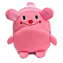 New Cute Cartoon and Lovely Plush Backpack School Bag for Children Kids with Animals Design, Multi-color (Pink)
