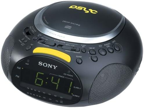 Sony ICF-CD832PS Psyc CD AM FM Stereo Clock Radio Black