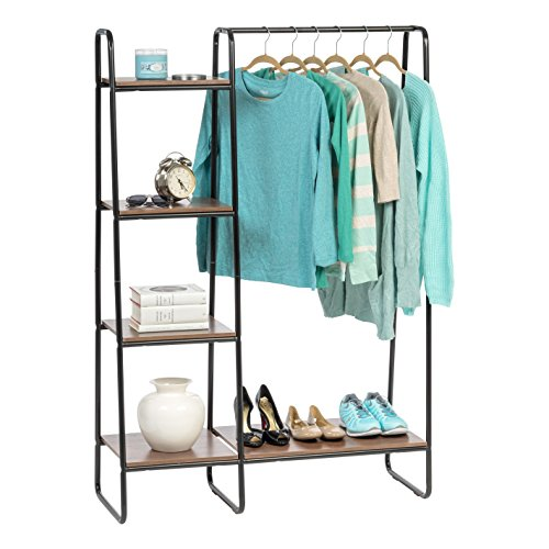 IRIS USA, Inc. PI-B3 IRIS Metal Garment Rack with Wood Shelves, Black/Dark Brown