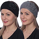 Active Club Winter Fashion Headbands-assorted Styles 2 Pack (Black & Grey #22)