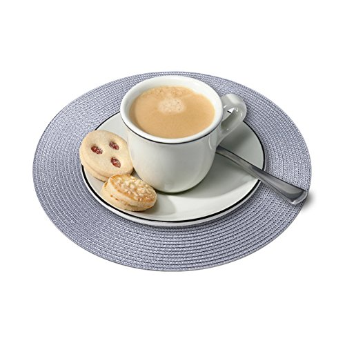 Round Placemats Furnily Round Braided & Woven, Indoor/Outdoor Placemat,15 Inches Round Table Mats,Set of 6 (Grey) by Furnily (Image #5)'