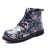 Gungun Kid's Floral Side Zipper Ankle Boots, Waterproof Hiking Rain Shoes, Black, 9.5 M US Toddler