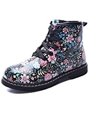 Gungun Kid's Floral Side Zipper Ankle Boots, Waterproof Hiking Rain Shoes (Toddler/Little Kid/Big Kid)