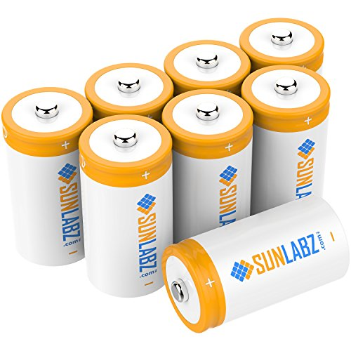 SunLabz D Rechargeable Batteries, Ultra-Efficient NiCD, 8 Pack (12 Sub C Battery)
