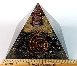Charged Gemstone Orgone Pyramid – Certified Orgonite® Healing Crystals and Copper Black Tourmaline Bio–Energy Enhancing Tool by Beverly Oaks