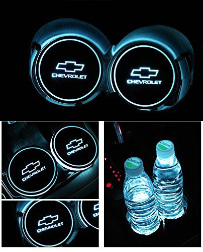 Bearfire Car Logo LED Cup Pad led cup coaster USB Charging Mat Luminescent Cup Pad LED Mat Interior Atmosphere Lamp Decoration Light (Chevrolet)