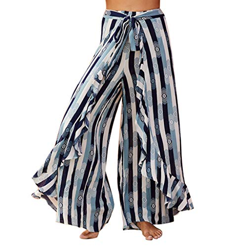 Toimothcn Women Belted High Waist Wide Leg Palazzo Pants Loose Casual Yoga Trousers Lounge Flare ()