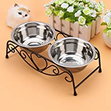 Yosoo Double Stainless Steel Feeder Dishes Raised Bowls Food Water For Elevated Pet Dog Cat Feeder