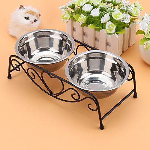 Yosoo Double Stainless Steel Feeder Dishes Raised Bowls Food Water For Elevated Pet Dog Cat Feeder (Elevated Feeder Raised Diners)
