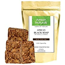 AFRICAN BLACK SOAP (1.18 lb / 4 bars x 135 grams) - by Amson Naturals -100% Natural Pure Authentic Traditionally Handmade in Africa (Ghana) - for Body Face Hair.