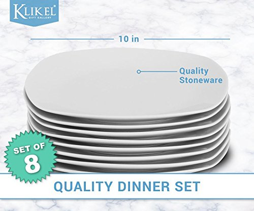Klikel 8 White Square Dinner Plates - 10-inch Classic Solid Coupe Style Porcelain Dinnerware