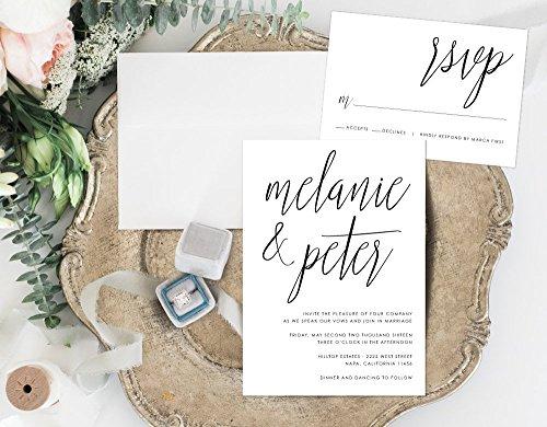 Calligraphy Wedding Invitation, Minimalist Wedding Invitation, Handwritten Wedding Invite by Alexa Nelson Prints