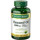 Nature's Bounty Flax Seed Oil and Omega 3 Herbal Health Supplement, Supports Heart and Cardiovascular Health, 1200 milligrams, 125 Softgels