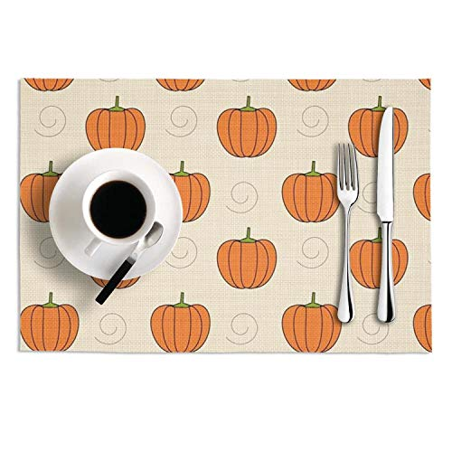 Pumpkins clipart-01 Tablemats Set of 2 Woven Vinyl Placemats Insulation Kitchen Dining Table Mats Decoration