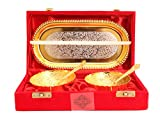 Indian Art Villa Silver Plated Gold Polished Bowl Set With 2 Spoons & 1 Tray, 100 Ml, Service For 2, Diwali Gift Item