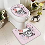Muyindo 2 Piece Toilet Cover set Skull and Blooms Catholic Popular Ceremy Celebrating Artistic Vintage Non-slip Soft Absorbent Bath Toilet mat