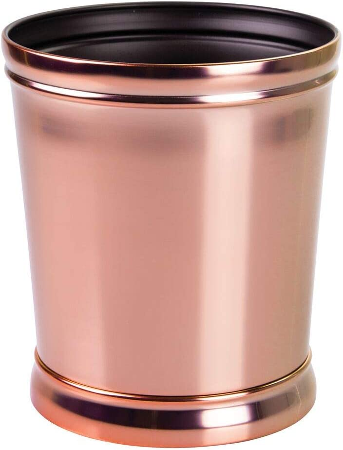 mDesign Decorative Metal Round Small Trash Can Wastebasket, Garbage Container Bin - for Bathrooms, Powder Rooms, Kitchens, Home Offices - Durable Solid Steel, Non-Slip Base - Rose Gold