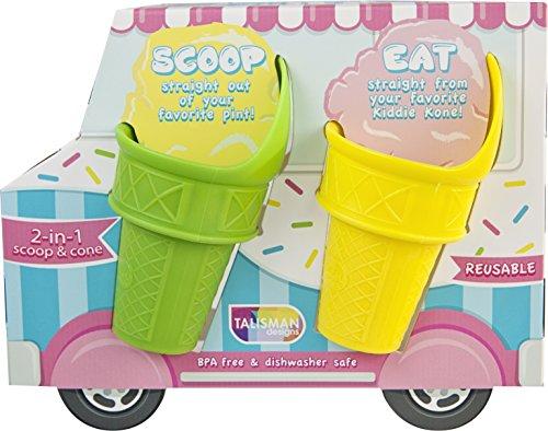 Talisman Designs Kiddie Kones, Reusable Mini-Scoop Cones, Set of 4, BPA-free Plastic ()