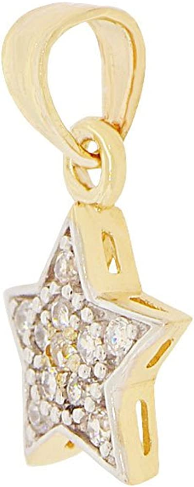 14k Yellow Gold White Rhodium Mini Star Pendant Charm Created CZ Crystals