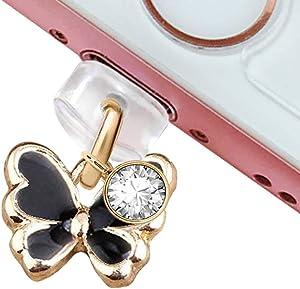ELISE & FONDA CP215 USB Charging Port Anti Dust Plug Cute Tiny Butterfly Pendant Phone Charm for iPhone 11/ XS MAX/XR/X/8 Plus/7/6S/8/SE iPad iPod (Black)