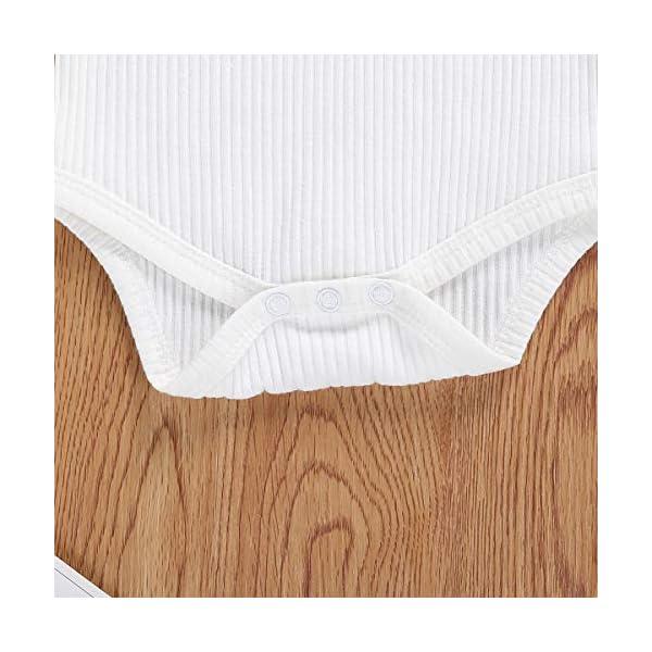 Geagodelia 3 Pezzi Completo Neonata Pagliaccetto Bianco a Maniche Lunghe +Pantaloncini a Quadri +Fascia per Capelli… 5