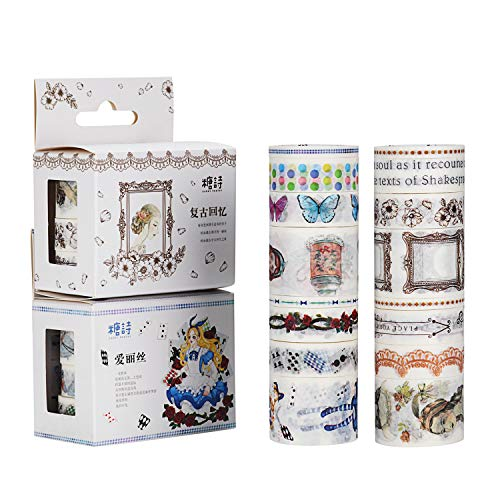 Molshine 16 Washi Masking Tape, Cute Tape,Sticky Paper Tape for DIY, Decorative Craft, Gift Wrapping, Scrapbook-Vintage Memories/Alice Series (0.2inX3.3ydX4rolls,0.6inX3.3ydX8rolls,1.2inX3.3ydX4rolls)