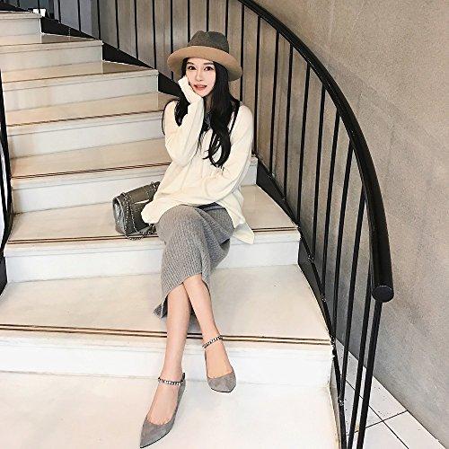 Con Y Solos Puntiagudos Princesa 38 De Pequeños gris Señora Zapatos Dhg T60w7qx