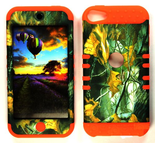 Apple iPod iTouch5 (5th Generations iTouch5) Camo/Camouflage Hunter Series, w/ Mossy Dry Leaves Hard Case/Orange Silicone/Snap On/Housing/Protector/Hybrid 2 in 1