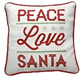 Primitives by Kathy 25'' Peace Love Santa Christmas Pillow