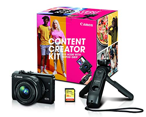 Canon EOS M200 Mirrorless Digital Vlogging Camera, Content Creator Kit, with Tripod, Memory Card, and Detachable…