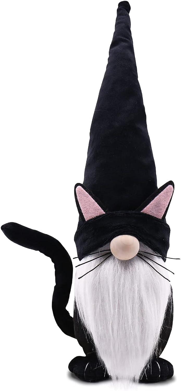 Black Cat Gnome Halloween Gnome Swedish Tomte Cat Collectible Figurines Plush Farmhouse Home Decor