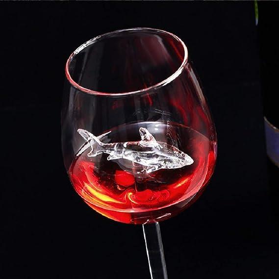 Copa de vino de tiburón, 300 ml, creativa taza de vidrio de ...