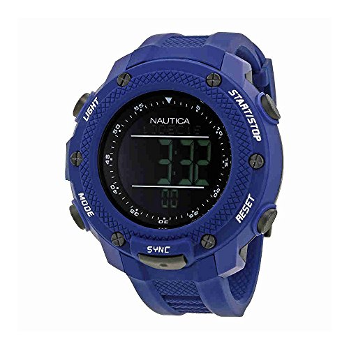 Nautica NMX 15 Black Digital Dial Blue Rubber Mens Watch NAI19524G