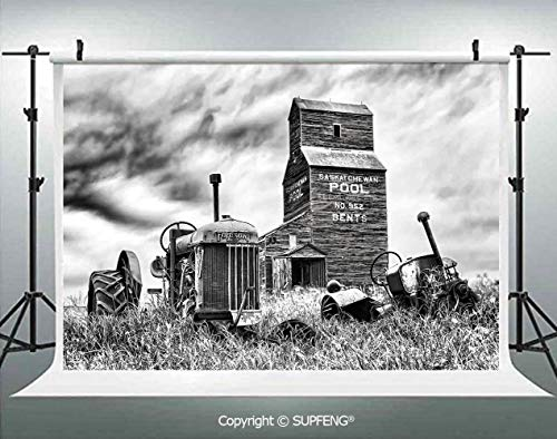 Photography Background Old 60s Abandoned Tractor in The Farm in Central Canada Nostalgic Machinery Elements Image 3D Backdrops for Photography Backdrop Photo Background Studio Prop -