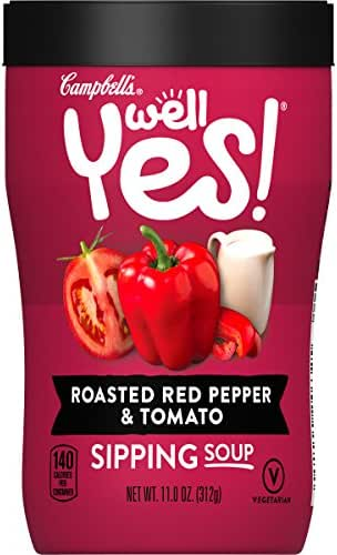 Campbell's Well Yes! Sipping Soup, Vegetable Soup on the Go, Roasted Red Pepper & Tomato, 11.1 Ounce Cup