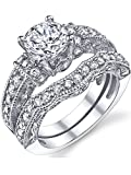 1.25 Carat Solid Sterling Silver Wedding Engagement Ring Set, Bridal Ring, with Cubic Zirconia CZ Size 8