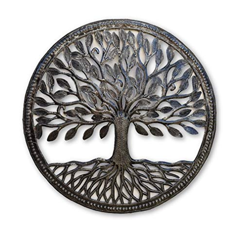 Small Steel Drum Organic Tree of Life Framed, 17.25 in. Round, Recycled Metal Art from Haiti (Life Wall Mural Tree Of)